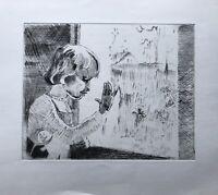 Radierung Kind am Fenster Mädchen Vögel Girl at the Window Birds 32,5 x 28,9 cm