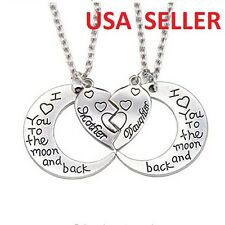 2 Pc Mother Daughter I Love You to the Moon and Back Hearts Pendant Necklaces