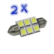 2 x CAR 12V LED 41MM / 42MM FESTOON INTERIOR WHITE LIGHT BULB 5050 6SMD globe