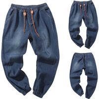 Men's Solid Autumn Denim Cotton Vintage Wash Hip Hop Work Trousers Jeans Pants