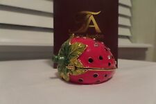 Strawberry Trinket Box By Taylor Avedon Crystal Accented Enameled NEW