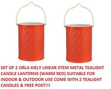 2 X Orla Kiely Candle Holder Tealight Metal Lantern Linear Stem Red & Candle