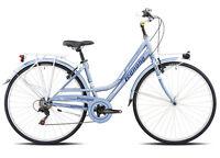 """Bicicletta CITY BIKE 28"""" LEGNANO VERSILIA L481 SHIMANO 6V DONNA ACCIAIO AZZURRO"""