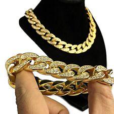 "Mens 18K Gold Plated Bracelet & 18"" Choker Chain Iced 18MM Heavy Cuban Set"