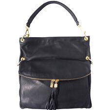 Borsa a Spalla Cuoio Pelle Leather Shoulder Bag Italian Made In Italy 3117 bk