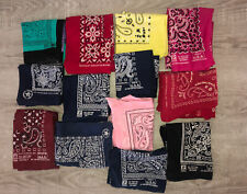 Lot of 13 bandanas indigo vintage antique USA  fast color