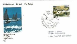 ITALY ITALIA 1987 FIRST FLIGHT AIR MAIL POSTCARD OLBIA FRANKFURT LUFTHANSA