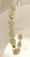 Women Charm 18K Gold Plated Jade Jewelry Fortune Link Bangle Party Bracelet