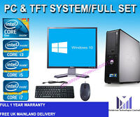 FULL DELL DUAL CORE /i3 /i5/i7 DESKTOP TOWER PC & TFT COMPUTER SYSTEM WINDOWS 10