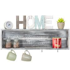 MyGift Wall-Mounted Distressed Grey Wood Floating Shelf with 4 Mug Hooks