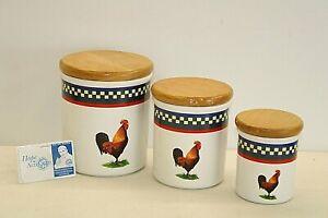 Set Of 3 International Tableworks Ella's Rooster Canisters w/ Lids