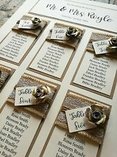 A3 vintage gold rose design wedding tableplan with kraft and hessian