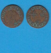 +gertbrolen+  Louis XIII  Double Tournois de Warin  en  cuivre  1643