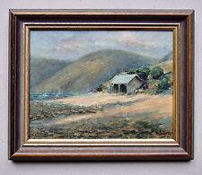 W.H.OLIVER Sea Side Shack Framed Oil Painting 1913