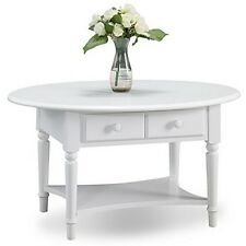 Leick Furniture 20044-WT Orchid White Coastal Oval Coffee Table With Shelf NEW