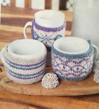 KNITTING PATTERN Fair Isle Heart Motif Tea Cosy Mug Hug Teatime Set King Cole