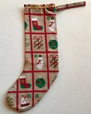 Handmade chrismas stocking Snowman Christmas Trees Holly Bells Ect. Fabric