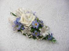 Wedding Flower buttonhole Ivory rose & blue daisy