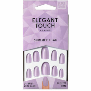 Elegant Touch 24 x SHIMMER LILAC OVAL False Nail Tips & Glue Moisture Free