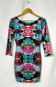 Women's Cooper St Floral Print Sleeved Bodycon Dress Size 8