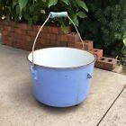 Antique Vollrath? Ware Cast Iron Enamel Pot Pan #10? Light Blue White Flower Pot