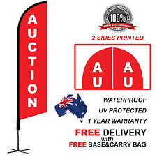 5m Red AUCTION Feather Bow Flag Banner Kit Outdoor real estate ACTNRED