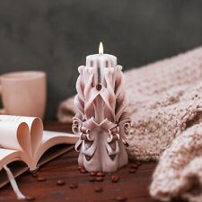 Candle gift set - Beige Brown Hand Carved candles - 6 inch / 15 cm