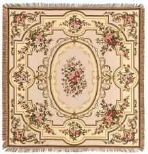 "NEW 60"" AUBUSSON BELGIAN TAPESTRY TABLE CHAIR THROW BED SPREAD 00739"