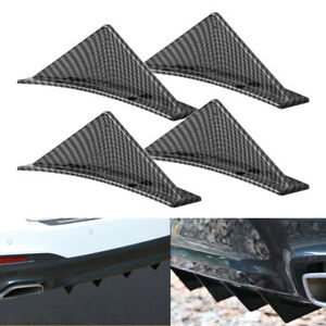 4x Universal Rear Bumper Diffuser Fin Spoiler Lip Wing Splitter Carbon Fiber