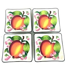 Lot of 4 New J. McCall Blue Sky Clayworks Small Square Peach Snack Canape Plates