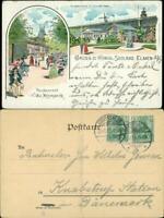 Litho AK Bad Salzelmen-Schönebeck 2 Bild Litho: Restaurant und Saline 1901