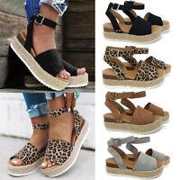 Summer Beach Women's Platform Leopard Print Espadrilles Sandals Shoes Size 6-9