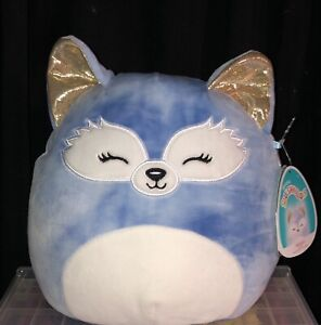 "Squishmallows Summer 8"" MELANI Blue Tie Dye Fox Sleepy Eyes Metallic Gold Ears"