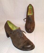 MIZ MOOZ Sz 8.5 Oxford Heels Ankle Bootie Brown Suede Leather