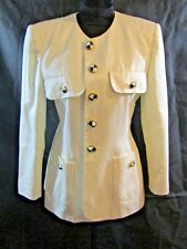 Escada By Margaretha Ley Womans Ivory with Black & White Buttons Blazer Size 40