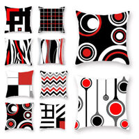 Geometric Pillow Case Cotton Linen Waist Red Throw Cushion Cover Home Sofa Decor