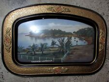 EARLY ORIGINAL RARE ANTIQUE DOMED GLASS FRAMED PRINT OF DARWIN HARBOUR ART DECO