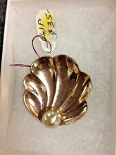Vintage Antique Rose Gold Tone Boucher? Shell Fur Clip with pearl