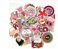 50 pcs pink cartoon cute Mix Laptop Stickers DIY Sticker Kids Toys Cars Phone