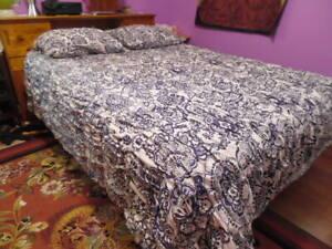 Pottery Barn Dorm Purple Floral Shirred Duvet Cover Queen Cotton  86x86