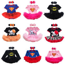 Baby Girl 2PCS Party Romper Tutu Dress Halloween Superhero Skull Outfit Costume