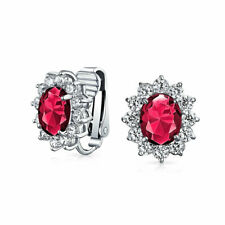 Red CZ Halo Stud Statement Clip On Earrings  Simulated Ruby Silver Plated