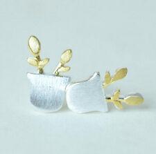 Ohrstecker Ohrring Blume Blumentopf Gärtner Sterling Silber 925