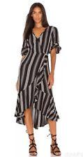 BAND OF GYPSIES HERRINGBONE RUFFLE BLACK DRESS,MSRP-$98,SMALL,NWT