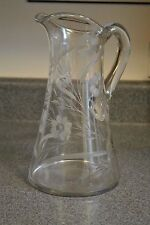 Vintage Signed Clark Crystal Pitcher with Etched Flowers
