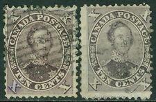 CANADA : 1859. Scott #17, 17a Used. Both Fresh & Sound. Catalog $310.00.
