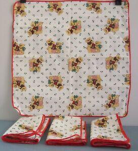Christmas Teddy Bear Napkins Holly Holiday 13.5 x 14 Toy Bag Bows White Set Of 4
