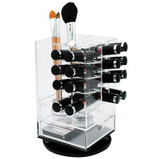 Acrylic Rotating Lipstick Storage Tower Stand  with 2 Drawers