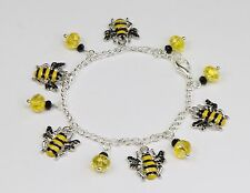 Bumble bee charm bracelet, yellow & black crystals on silver chain. Cute!