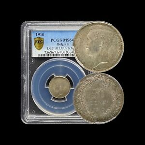 1910 Belgium 50 Centimes (Silver) - PCGS MS64 (CH UNC) - Top Pop 🥇French